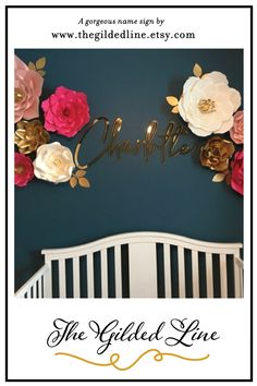 Charlotte nursery name sign in reflective gold acrylic looks beautiful set between these paper wall flowers. Nursery Name, Nursery Signs, Wall Flowers, Flower Wall, Name Signs, Charlotte, Etsy Seller, Wallpaper, Creative