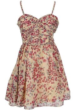 Field of Flowers Printed Dress with Braided Strap by Minuet in Ivory/Pink www.lilyboutique.com