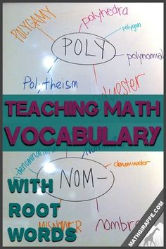 Teaching Vocabulary in Math Class Using Root Words Academic Vocabulary, Teaching Vocabulary, Math Literacy, Vocabulary Activities, Math Teacher, Math Classroom, Math Education, Classroom Ideas, Math Tutor