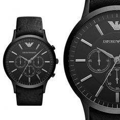Emporio Armani AR2461 Schwarz Leder Herren Armbanduhr Chronograph Uhr NEU & OVP