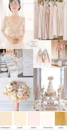 Champagne wedding theme with blush accents can be used at any time of the year.A Champagne wedding theme is timeless and elegant. It is ideal for a formal Champagne Wedding Colors Scheme, Wedding Color Schemes, Wedding Champagne, Champagne Dress, Wedding Colours, Rose Wedding, Mermaid Wedding, Dream Wedding, Wedding Blush
