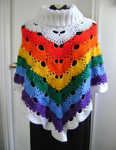 Crochet Rainbow Virus Poncho with Cowl Boho Hippie Gypsy