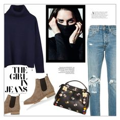 """""""The girl in jeans"""" by frenchfriesblackmg ❤ liked on Polyvore featuring Levi's, Ille De Cocos, Barneys New York and Fendi"""