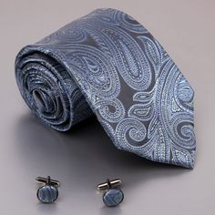 Blue Paisleys Men Ties Dimgray Pattern Birthday Gift Mens Accessories Silk Tie Links Set A2048 One Size Dimgray: Clothes