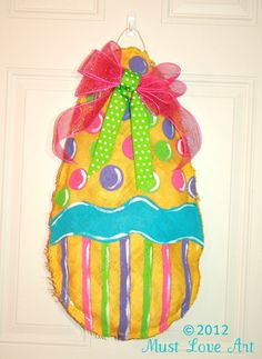 Hand Painted Easter Egg Burlap Door Hanger Decoration by sherj87, $35.00