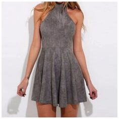 Gray-Super-Soft-Microfiber-Faux-Suede-Lace-Up-Flare-Skirt-Halter-Dress