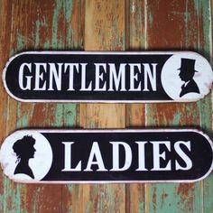 Metal Bathroom Signs | Vintage Bathroom Signs | Ladies Restroom Sign | Gentlemen…