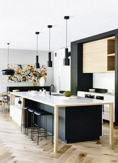 Stylish modern and mid-century kitchens, designer´s projects with stunning lighting pieces. Discover trendiest chandeliers, wall and floor lamps and projects with us! | www.delightfull.eu | Visit for more inspirations about: mid-century kitchen, modern kitchen, industrial kitchen, kitchen decor, kitchen design, kitchen lighting, kitchen lamps, kitchen chandeliers, kitchen wall lamps, kitchen set, Scandinavian kitchen.