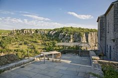 Incredible view over a gorge in Ardèche from the Chateau de Balazuc ©Sawday's Bed And Breakfast, Hotels In France, Beaux Villages, Best Hotels, Seaside, Places To Go, Sidewalk, The Incredibles, Patio