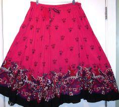 Hippie Skirt L Pink Sequins Ethnic Sheer Flowy Bohemian Indie Festival Grunge L