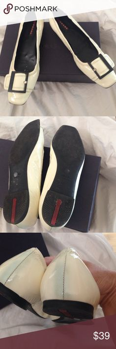 Prada loafers with buckle Cream patent lthr. Discolorations - see photos Prada Shoes Flats & Loafers
