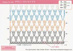 crochet granny stripe chart and photo tutorial. かぎ針編みのグラニーストライプ編み図と写真付き編み方。