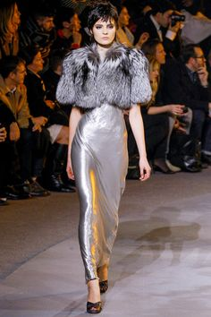 I want this whole look from Marc Jacobs! More than just a silver lining, a whole silver dress!