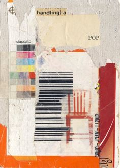 Pop by Richard Leach - Paper collage on cardboard, 2.5 x 3.5 inches.