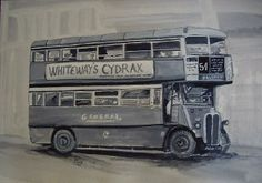 London Bus by Carole Robins London Red Bus, Bus Art, Double Decker Bus, Urban Landscape, Cute Illustration, Watercolor Art, Old Things, Robins, Urban