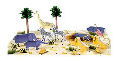Easy To Build African Animals Diorama For Kids - by Paper Museum  --          A really nice paper model for kids, very easy-to-build, by Japanese website Paper Museum: African Animals Diorama. Great for school works.