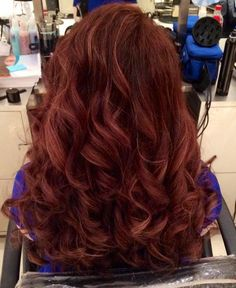 Dark auburn hair with light auburn highlights --- my new hair!