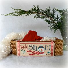 Ready for Snow Snowman Storage Basket by SnowBerryNeedleArts