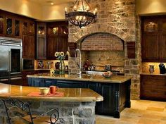 [ Kitchen Ideas With Traditional Design Home Interior Lovely Lighting And Stone Accent Wall From ] - Best Free Home Design Idea & Inspiration Home Design, Küchen Design, Interior Design, Design Ideas, Old World Kitchens, Cool Kitchens, Dream Kitchens, Style At Home, Stone Kitchen