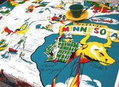 MINNESOTA State Map Souvenir Reproduction Vintage Tablecloth FAB!