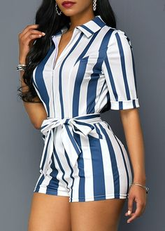 Turndown Collar Zipper Front Stripe Print Belted Romper | Rosewe.com - USD $32.90 Chic Outfits, Summer Outfits, Fashion Outfits, Womens Fashion, Fashion Tips For Girls, Chor, Stripe Print, Jumpsuits For Women, Romper Outfit