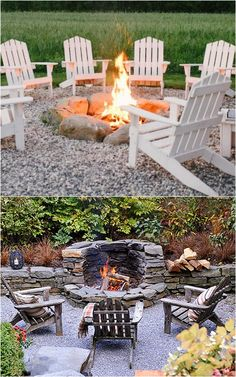 24 best outdoor fire pit ideas including: how to build wood burning fire pits and fire bowls, where to buy great fire pit kits, beautiful DIY fire pit tables and coffee tables, creative outdoor space ideas! - A Piece of Rainbow Fire Pit With Rocks, Cool Fire Pits, Stone Fire Pits, Deck With Fire Pit, Easy Fire Pit, Fire Pit With Chimney, Patio Ideas With Fire Pit, Dry Stone, Fire Pit Seating