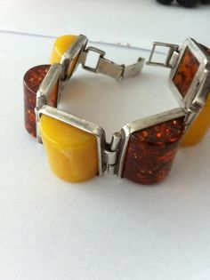 vintage silver and butterscotch amber bracelet