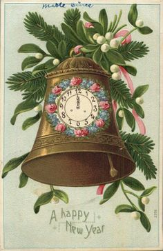 "Antique German ""Happy New Year"" postcard.antique bell with clock. Vintage Happy New Year, Happy New Year Images, Happy New Years Eve, Happy New Year Cards, Happy New Year Greetings, Happy Year, Vintage Christmas Images, Vintage Holiday, Christmas Pictures"