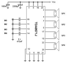 40Watts 4-channel audio amplifier