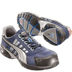 642515 Puma Men s Fast Low Safety Shoes - Black Blue www.bootbay.com 82ee6e023