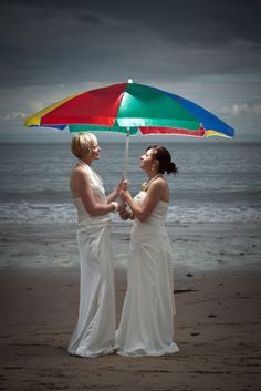 Beautiful touch to a beach wedding Lgbt Love, Lesbian Love, Lesbian Couples, Wedding Blog, Wedding Photos, Wedding Beach, Wedding Ideas, Umbrella Wedding, Two Brides