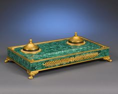 Antique Inkwell; Russian Malachite; Green and Bronze Inkwell ~ M.S. Rau Antiques