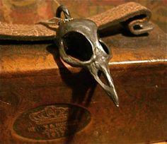 Small Black Bird Skull Pendant Necklace