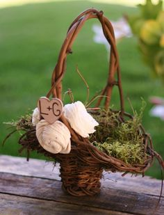 Personalized Flower Girl Basket Rustic Roses Chic by braggingbags, $39.99