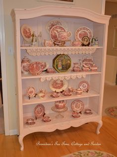 Be it ever so humble, there's no place like home. ~ John Howard Payne Hello my lovely friends and welcome to No Place Like Home ; Painted China Cabinets, Tea Party Decorations, Shabby Look, Cottage Furniture, Pink Houses, Everything Pink, Cozy Cottage, Thing 1, Shabby Chic Decor