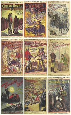 """Collage of Covers of British """"Penny Dread"""" Victorian Novels--Aldine Publishing featuring American West. Wall Art or Poster Digital Download."""