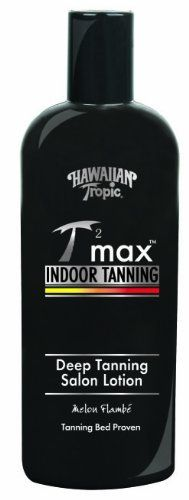 Hawaiian Tropic Tan Max Indoor Tanning Deep Tanning Salon Lotion, 8-Ounce Bottles (Pack of 2) by Hawaiian Tropic. $10.00. Designed for tanning bed use. Made with antioxidant Vitamins A and E. Case of two 8-ounce bottles of tanning lotion (total of 16 ounces). Hypoallergenic. Non-greasy, oil free formula absorbs quickly. An intense touch of Hawaiian tropical, exotic, natural flora, fruit, and nut extracts, specially designed for tanning bed use. This oil free dry l...