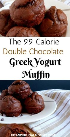 The 99 Calorie Double Chocolate Greek Yogurt Muffin, a low calorie muffin recipe. - The 99 Calorie Double Chocolate Greek Yogurt Muffin, a low calorie muffin recipe that you can enjoy - Low Calorie Muffins, Low Calorie Baking, Low Calorie Desserts, No Calorie Foods, Low Calorie Recipes, Healthy Low Calorie Breakfast, Foods With No Calories, Low Calorie Bread, Low Calorie Cookies