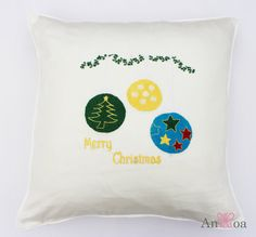 Christmas decorations embroidered cushion cover. 18x18 inch. #ChristmasTreeDecorations #Festive #Embroidery #Cushions #AnHoa