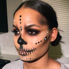 When a client shows you a picture of a dope #skullmakeup by your girl @lora_arellano  and you give it a little Givenchy twist... ☠️ #Skull #HalloweenMakeup #LAMakeupArtist #MuA