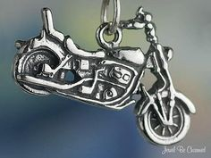 Motorcycle Charm Sterling Silver Vehicle Transportation Biker .925