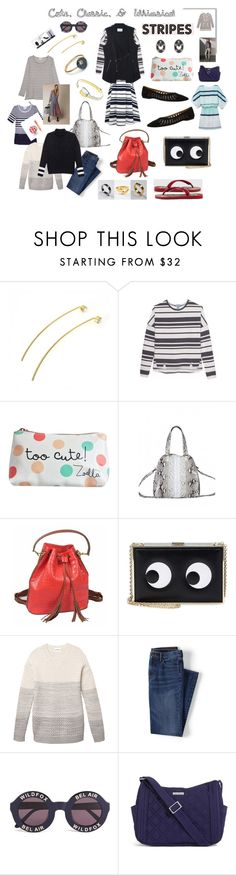 style staples by whimchic on Polyvore featuring Nesh, Olive + Oak, Anya Hindmarch, Vera Bradley, Jessica Elliot, Wildfox, Lands' End, Post-It, Gucci and stripes