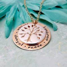 Hand Stamped Gold and Silver Personalized Family Tree Necklace