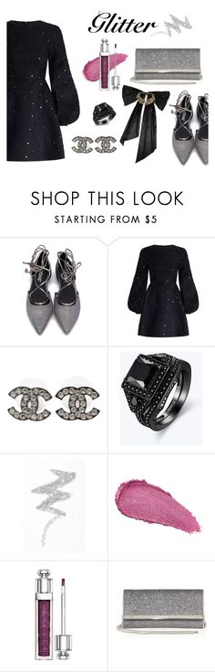 """✨GLITTER✨ black💋"" by cleo-stynen ❤ liked on Polyvore featuring Zimmermann, Chanel, NYX, Revlon, Christian Dior, Jimmy Choo and Oscar de la Renta"