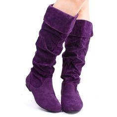 PURPLE FAUX SUEDE SLOUCH MID CALF COLLAR FLAT BOOTS ($14) ❤ liked on Polyvore featuring shoes, boots, lace-up bootie, flat knee high boots, knee-high lace-up boots, western boots and knee high heel boots