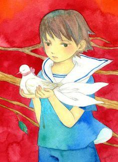 yokotasayo: 2014 「鳩と少年」 水彩 横田沙夜 Sayo Yokota