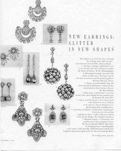 Costume Jewelry Ad 1950 Earrings by Ledo Miriam Haskell Eisenberg Kramer Etc Jewellery Advertising, Jewelry Ads, Jewelery, Vintage Costume Jewelry, Vintage Costumes, Vintage Jewelry, Vintage Advertisements, Vintage Ads, Jewelry Companies