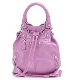 Giant Mini Pompon Leather Shoulder Bag Balenciaga Purple Leather 45532ca1e1d39