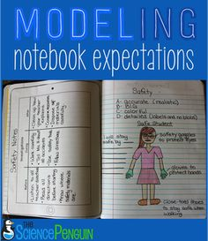 Modeling Interactive Notebook Expectations: how I teach my students my expectations for quality work Fourth Grade Science, Middle School Science, Elementary Science, Science Classroom, Science Education, Teaching Science, Science Activities, Science Ideas, Classroom Ideas