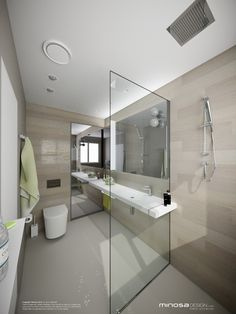Stunning Minimalist Bathroom Interior Design With Glass Partition And Wood  Wall Panel Also Modern Shower And Sink And Toilet   Use J/K To Navigate To  ...